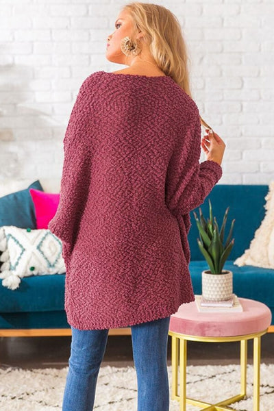 Red Winter Break Knit Tunic Sweater