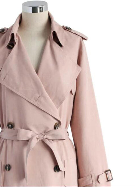 Refined Double-breasted Trench Coat in Pastel Pink - girlyrose.com