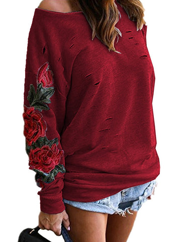 Ripped Skew Neck Embroidered Casual Sweatshirt