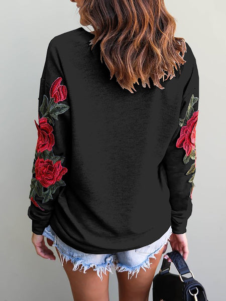Ripped Skew Neck Embroidered Casual Sweatshirt - girlyrose.com