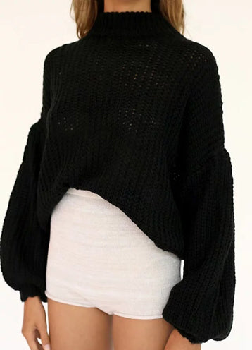 Round Neck Long Sleeve Solid Color Sweaters