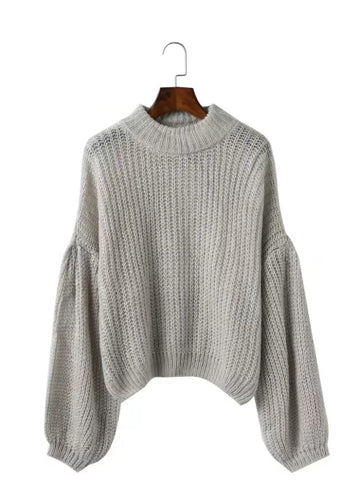 Round Neck Long Sleeve Solid Color Sweaters - girlyrose.com