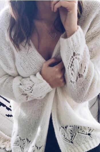 Sexy hollowed-out sweater thin knit cardigan - girlyrose.com