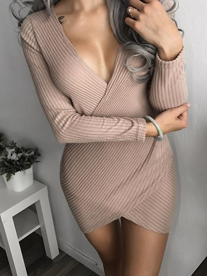 Sex Slim fit-cut Bodycon Solid Color Dress - girlyrose.com