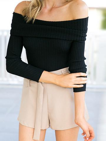 Sexy Bateau Solid Color Knit Sweater - girlyrose.com