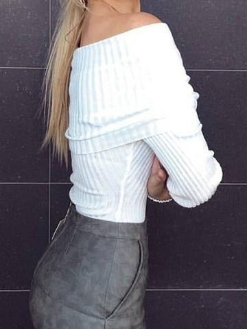 Sexy Bateau Solid Color Knit Sweater