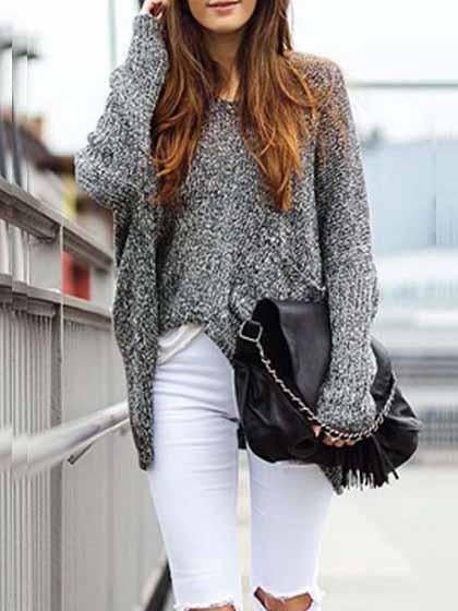 Sexy Casual Gray Stripe Knitted Long Sleeve Sweater Oversized Top - girlyrose.com
