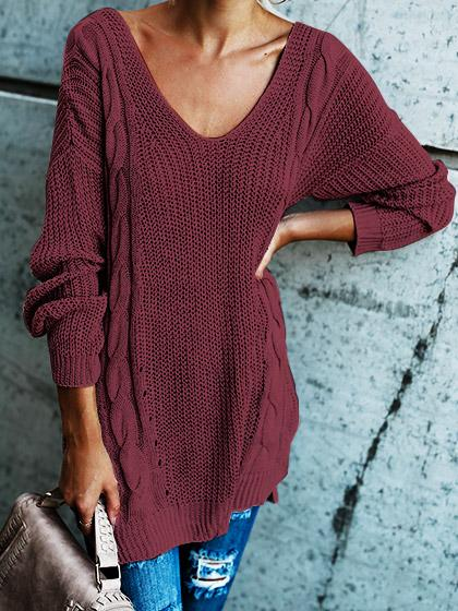 Sexy Halter Solid Color Sweater