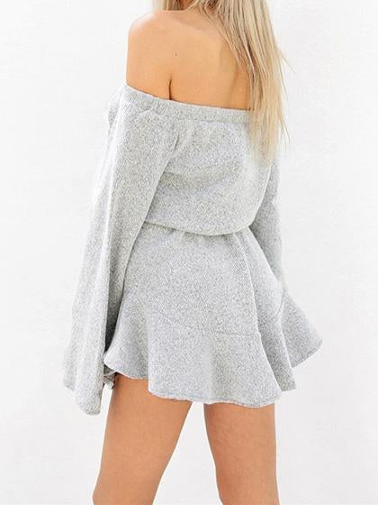 Sexy Off Shoulder Gray Mini Dress