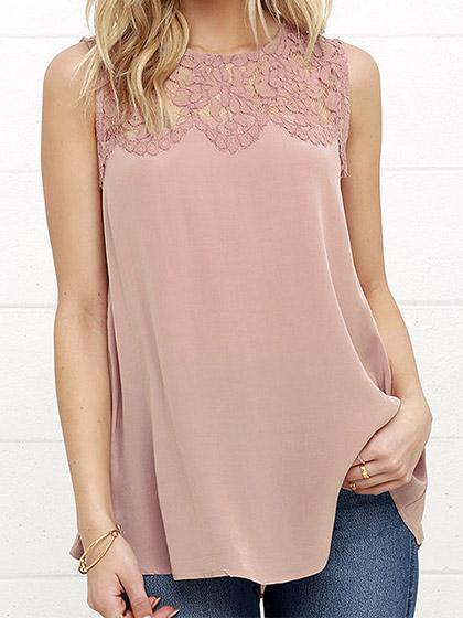 Sexy Sleeveless Lace Spliced Solid Color Top Camisole - girlyrose.com