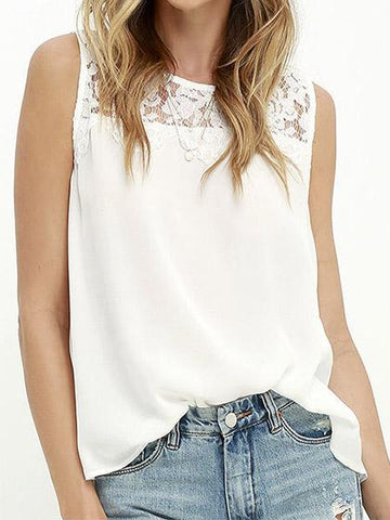 Sexy Sleeveless Lace Spliced Solid Color Top Camisole