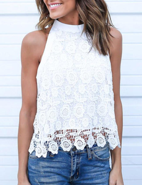 Sexy Sleeveless Open Back Bow-Tie Lace Blouse Tank Tops - girlyrose.com