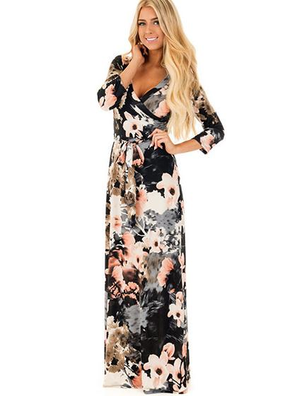 Sexy Sleeves Floral Print Maxi Dress - girlyrose.com