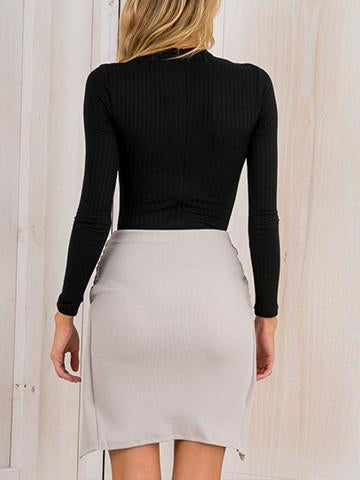 Sexy Slim Comfortable Fit-Cut Bodycon Solid Color Top