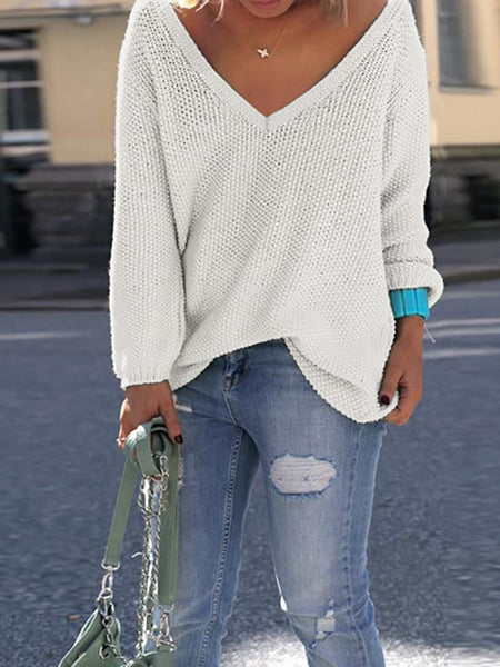 Sexy Women V Neck Knitted Casual Pullover Sweater - girlyrose.com