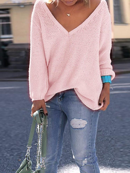 Sexy Women V Neck Knitted Casual Pullover Sweater