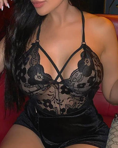 Sheer Lace Mesh Insert Teddy Bodysuit - girlyrose.com
