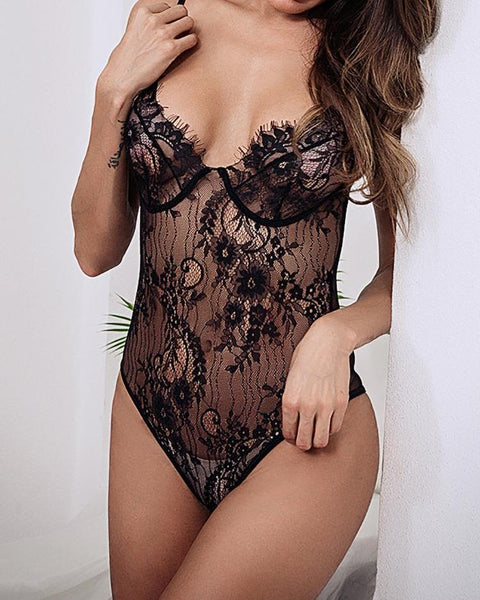 Sheer Mesh Eyelet Lace Teddy Bodysuit - girlyrose.com