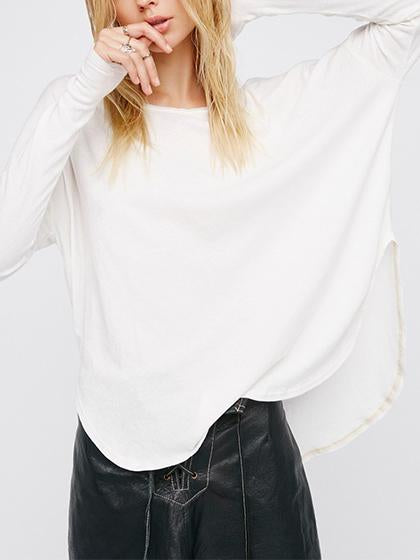 Simple Basic Round Neckline Solid Color Long Sleeve Top - girlyrose.com