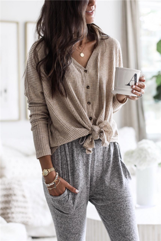 Simple Button Up Sweatshirt