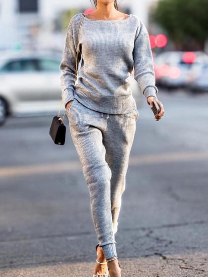 Simple Casual Round Neckline Tracksuit - girlyrose.com