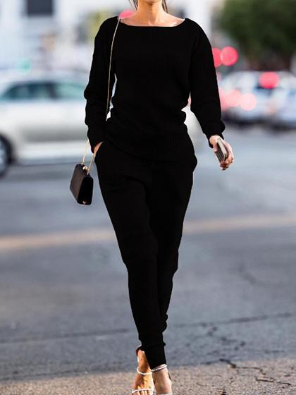Simple Casual Round Neckline Tracksuit