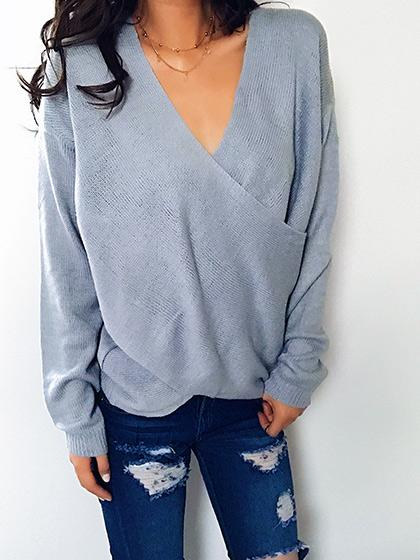 Simple Casual V Neck Front Cross Weekend Sweater