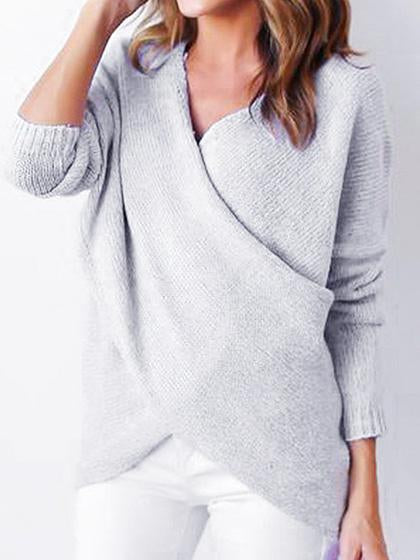 Simple Casual V Neck Front Cross Weekend Sweater - girlyrose.com