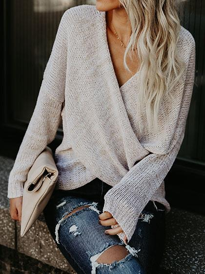 Simple Casual V Neck Front Cross Weekend Sweater Top - girlyrose.com