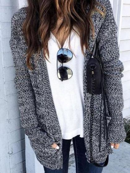 Simple Dark Gray Loose Cardigan - girlyrose.com