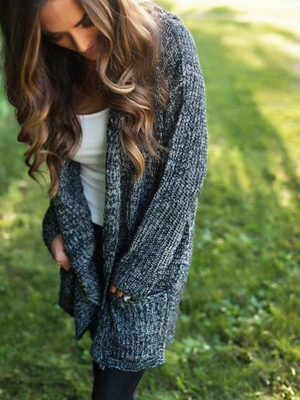 Simple Dark Gray Loose Cardigan