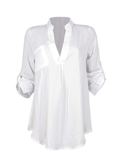 Simple Long Sleeve White Shirt - girlyrose.com