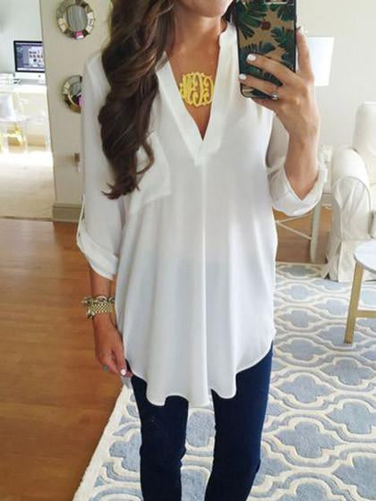 Simple Long Sleeve White Shirt