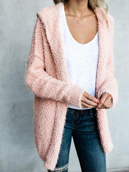 Simple Open Collar Solid Color Fluffy Cardigan - girlyrose.com