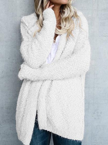Simple Open Collar Solid Color Fluffy Cardigan