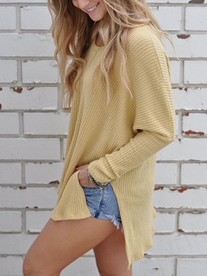Simple Oversize Casual Solid Color Yellow Sweater - girlyrose.com