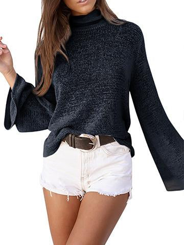 Slim Comfortable Turtleneck Back Bandage Cross Ties Pullover