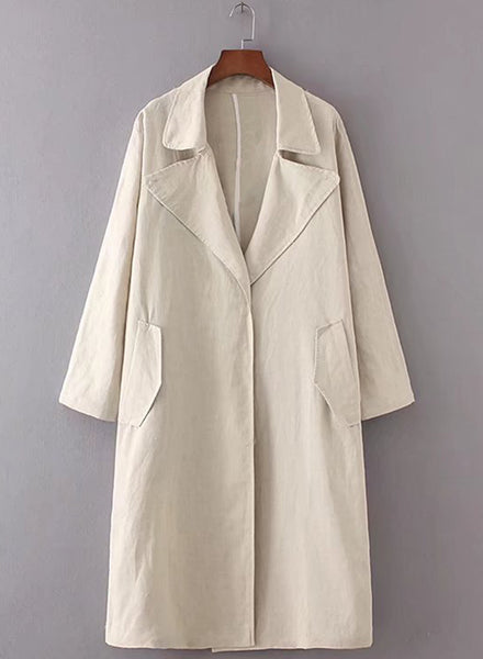 Solid Color Loose Fit Trench Coat - girlyrose.com