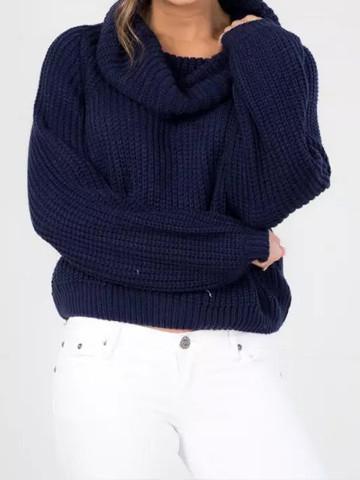 Solid Color Stylish Casual Turtleneck Sweater - girlyrose.com