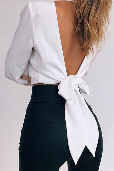 Solid Color V Neck Backless Top