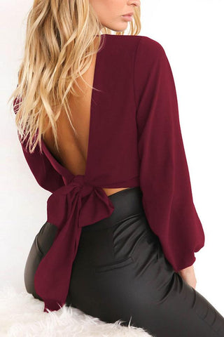 Solid Color V Neck Backless Top - girlyrose.com