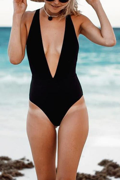 Solid Deep V Neck One Piece Swimwear - girlyrose.com