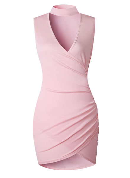 Solid Halter V Neck Sleeveless Irregular Bodycon Dress - girlyrose.com