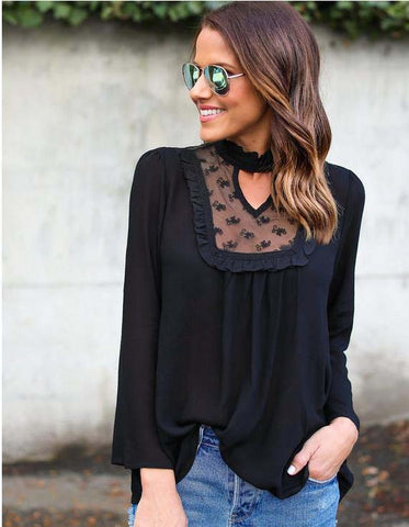 Solid Long Sleeve Lace Chiffon Blouse