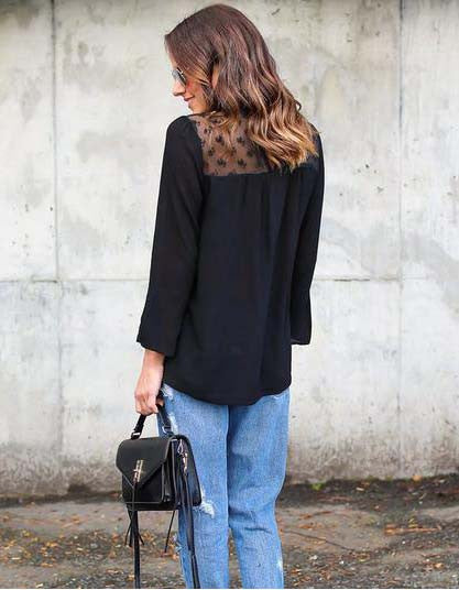 Solid Long Sleeve Lace Chiffon Blouse - girlyrose.com