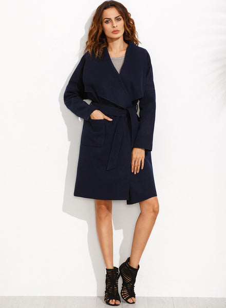 Solid Long Sleeve Trench Coat with Belt - girlyrose.com