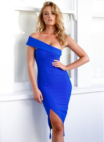 Strapless Bodycon Slit Party Dress