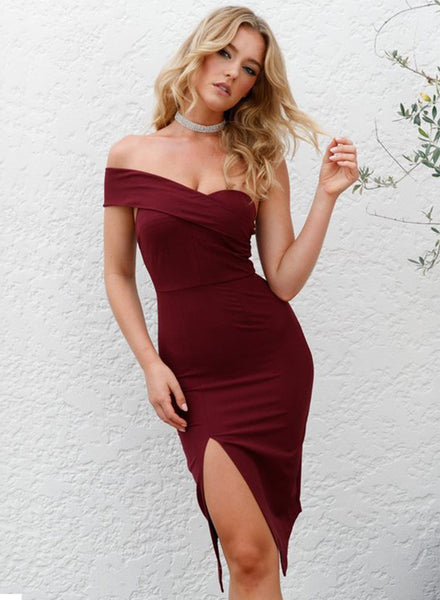 Strapless Bodycon Slit Party Dress - girlyrose.com