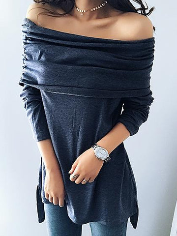 Street Fashion Gray Off Shoulder Pleated Top