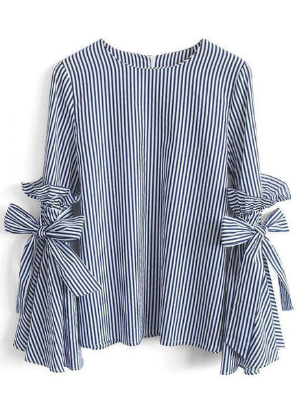 Stripes Charisma Top with Bell Sleeves - girlyrose.com